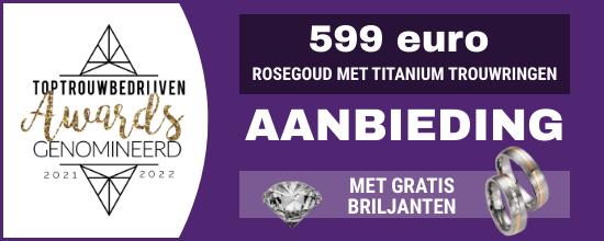rosegoud met titanium ringen
