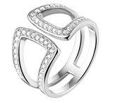 Gerhodineerd zilveren ring met zirkonia_