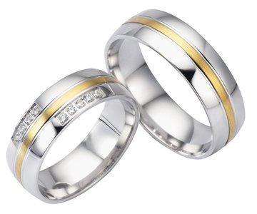 Tweekleurige Trouwringen goud met zilveren trouwringen