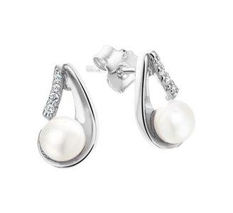 Gerhodineerd zilveren oorknoppen met zoetwaterparel met zirkonia.