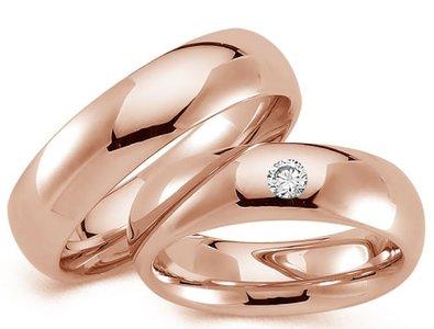 Bolle rose gouden trouwringen mat of glanzend