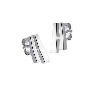 Gerhodineerd zilveren oorknoppen met diamant en een poli/matte afwerking
