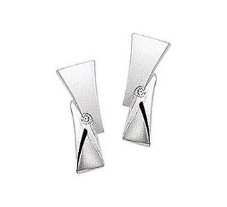 Gerhodineerd zilveren oorknoppen met diamant en een poli/matte afwerking.
