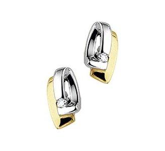 Geelgouden oorknoppen met diamant.