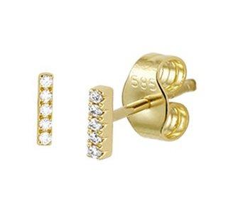 Geelgouden oorknoppen balkje met diamant