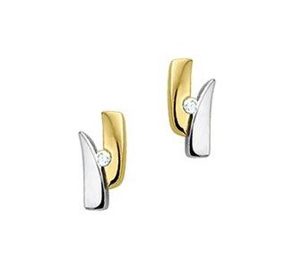 Bicolor wit- en geelgouden oorknoppen met diamant.
