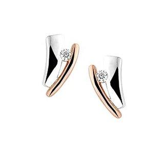 Bicolor rose- en witgouden oorknoppen met diamant.