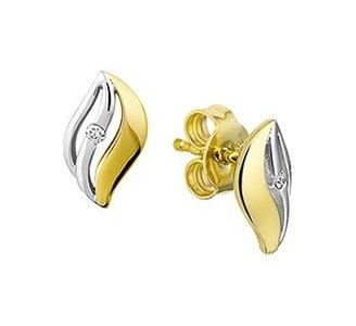 Bicolor wit- en geelgouden gestifte oorknoppen met diamant.