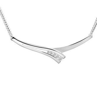 Zilveren collier met zirkonia.