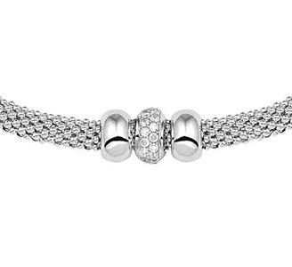 Gerhodineerd zilveren collier met zirkonia.