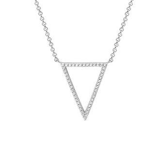 Gerhodineerd zilveren collier met een driehoek van zirkonia.
