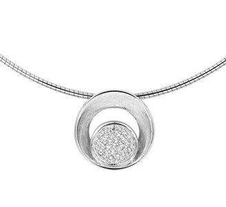 Gerhodineerd zilveren collier met zirkonia en een poli/gescratchte bewerking.