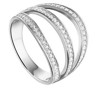 Gerhodineerd zilveren ring met zirkonia
