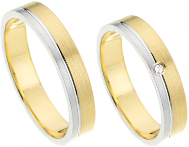 Goud met zilver ringen