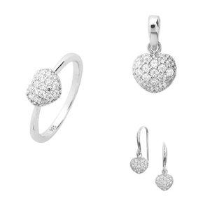 Set oorbellen hanger en ring in hartvorm met zirkonia