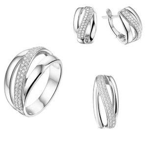 Set ring, hanger en Klapcreolen zirkonia