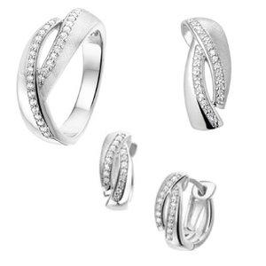 Set ring, hanger en klapcreolen Zirkonia gescratcht