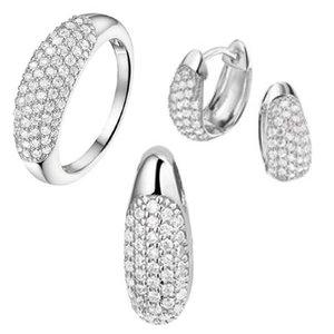 Set ring, hanger, klapcreolen zilver zirkonia