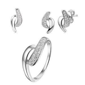Set ring, hanger, oorknoppen zilver zirkonia