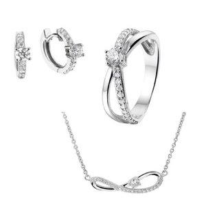 Set zilver zirkonia: Ring, collier en klapcreolen