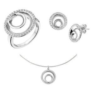 Set ring oorknoppen, collier zilver zirkonia