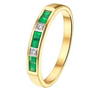 Ring smaragd en diamant 0.02ct H SI