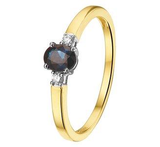 Ring saffier en diamant 0.05ct H SI