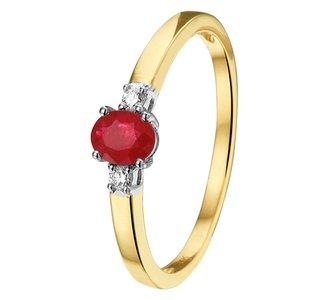 Ring robijn en diamant 0.05ct H SI