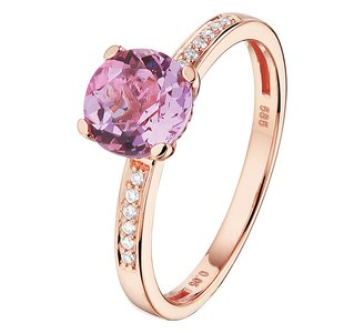 Ring amethyst en diamant 0.05ct H SI